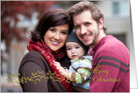 Gold Holly Border Christmas Photo Card