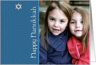 Happy Hanukkah, Star of David, Blue Photo Card