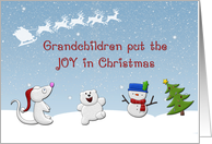 Merry Christmas For Grandchildren, Cute Snow Animals card