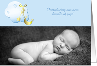 Cloud, Moon, Gold Stars Blue Baby Announcement card