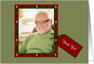 Thank You, Christmas Gift, Plaid Frame, Tag Photo Card