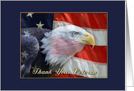 Bald Eagle, Flag, Veteran Thank You card