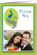 Peacock Teal Green Wedding Thank You Photo Card