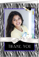 Zebra Pattern, Purple Graduation Thank You card