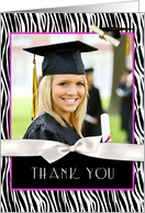 Zebra Pattern, Pink Graduation Thank You card