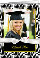 Zebra Pattern, Gold Graduation Thank You card