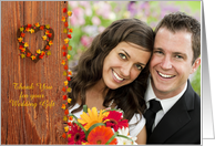 Rustic Wood, Heart, Leaves, Wreath, Wedding Thank You Photo Card