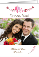 Pink Love Birds and Hearts, Wedding Thank You, Photo Card