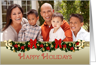 Happy Holidays, Decorated Garland, Christmas Photo Card
