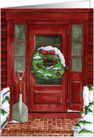 Christmas Wreath on Door Card