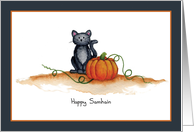 Black Cat and Pumpkin Card