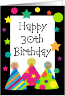 Happy 30th Birthday Party Hats Card