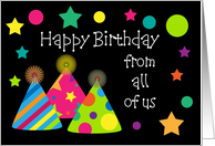 Happy Birthday From All Of Us Party Hats Card