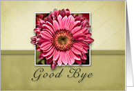 Good Bye, Framed Pink Flower on Tan and Green Background card