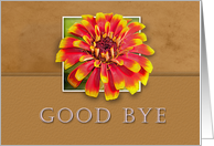 Good Bye, Flower with Tan Background card
