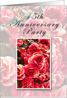 15th Anniversary Party Invitation, Pink Flowers card