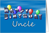 Uncle Happy Birthday, Balloons with Blue Sky card