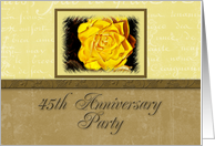 45th Anniversary Party Invitation, Yellow Flower with Yellow and Tan Background card