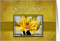 Good Bye, Yellow Lily on Yellow Background card