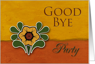 Good Bye Party Invitation, Yellow Flower, Orange and Deep Yellow Background card