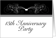 15th Anniversary Party Invitation, Black and White card
