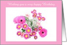 Happy Birthday with pink flowers Floral Birthday card