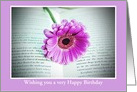 Happy Birthday with gerbera in book Floral Birthday card