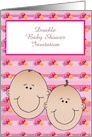 Double Baby Shower Invitation custom text with baby faces card