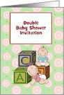 Double Baby Shower Invitation custom text with babies and blocks card