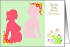 Double Baby Shower Invitation custom text with pregnant silhouette card