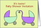 Baby Shower Invitation for Twins with stroller prams custom text card