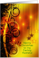 Merry Christmas to husband from wife with stars and swirls card