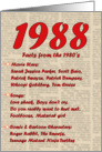 1988 FUN FACTS - BIRTHDAY newspaper print nostaligia year of birth card