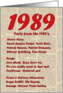 1989 FUN FACTS - BIRTHDAY newspaper print nostaligia year of birth card