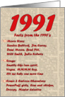 1991 FUN FACTS - BIRTHDAY newspaper print nostaligia year of birth card
