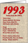 1993 FUN FACTS - BIRTHDAY newspaper print nostaligia year of birth card