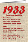 1933 FUN FACTS - BIRTHDAY newspaper print nostaligia year of birth card