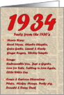 1934 FUN FACTS - BIRTHDAY newspaper print nostaligia year of birth card