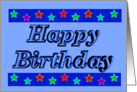 Happy Birthday - Stars - Blue card