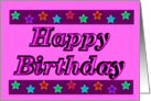 Happy Birthday - Stars - Pink card
