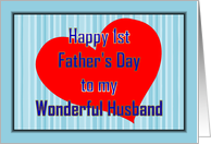 Happy 1st Father'S Day To Husband From Wife - First Father'S Day card