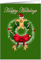 Happy Holidays hot dog hot dog bun wreath card