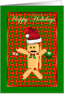 Happy Holidays hot dog hot dog bun card