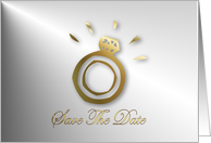 Save The Date with gold diamond Engagement ring card