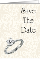 Save The Date with diamond ring Engagement ring card