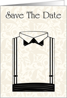 Save The Date with flowers and scrolls for Engagement card