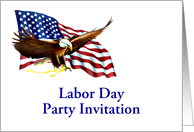 Labor Day Party Invitation with American flag and eagle custom card