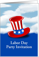 Labor Day Party Invitation with American flag top hat against sky card