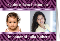 Quinceanera Invitation with purple zebra pattern customizable card