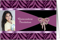 Quinceanera Invitation with purple zebra pattern custom card